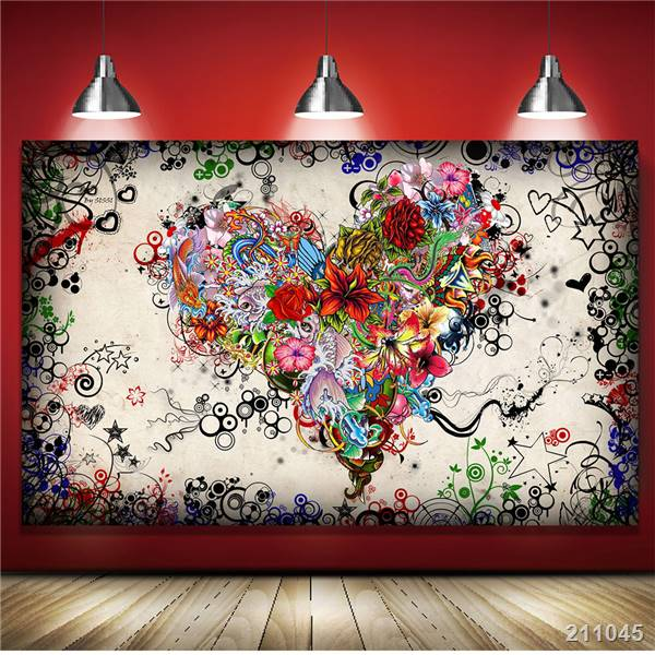 Canvas Art Print Wall Art 5 Pieces Color Abstract Graffiti Canvas Paintings F...