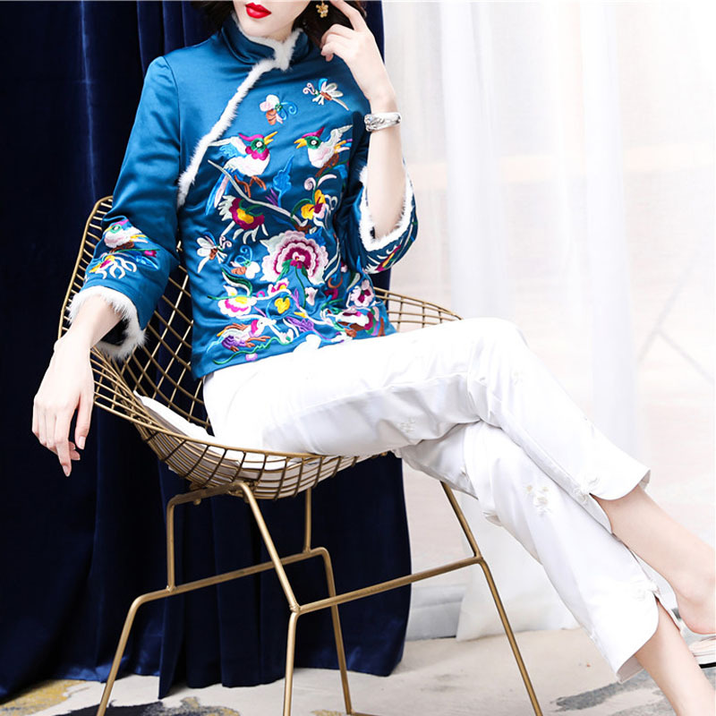 Style Veste 2018 Exquis Parka Marque Manteaux Vintage Oiseaux Bleu Blue pink Broderie Survêtement Chinois Automne Rose Manteau Femmes Hiver ESqzwC