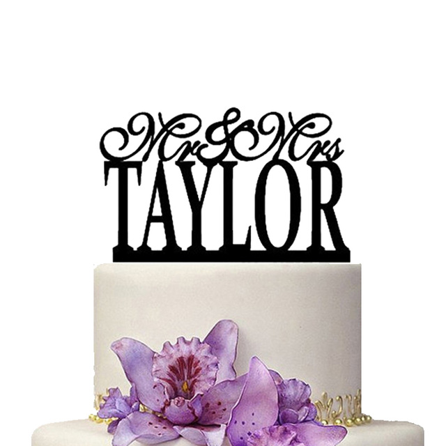 Personalize Wedding Cake Topper Mr Mrs Taylor Beautiful Decoration Name Custom Made Gift Accessory