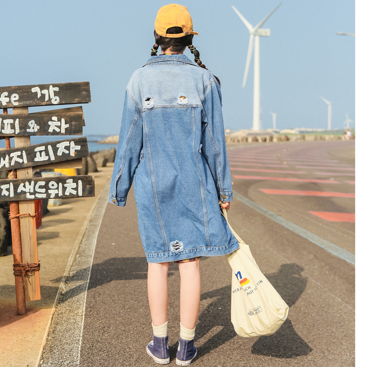 Women Korean Loose BF Holes Jean   Jacket   Coat 2017 Spring Autumn   Jacket   Female Casual   Basic     Jacket