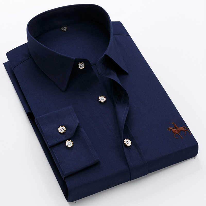 2019 メンズ 100% 綿事務シャツ無地男性シャツ男性フォーマル社会ドレスシャツブランドカジュアルシャツ服