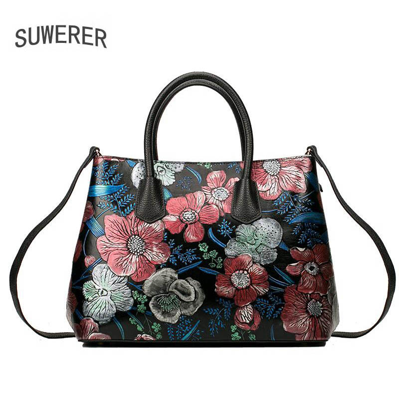 Genuine Leather handbag  2017 new luxury hand-painted flower handbag Fashion Shoulder Messenger Bag Women's handbags