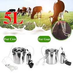 5L Vakuum Pumpe Elektrische Melken Maschine Edelstahl Kuh Ziege Schaf Eimer Saug Melker Haushalt Melken Maschinen