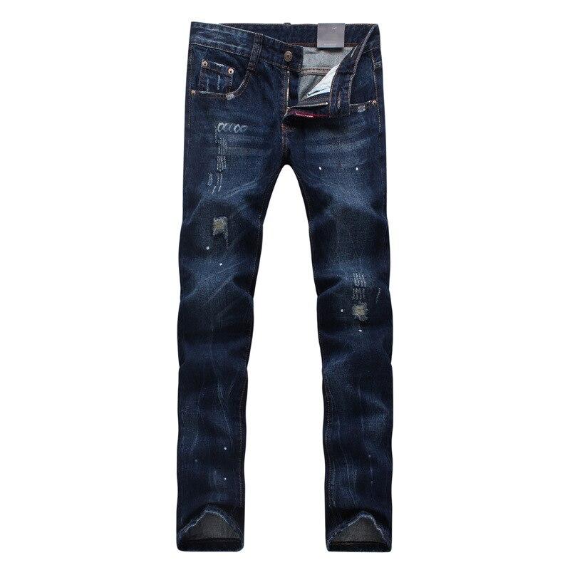 High Quality Mens Ripped Biker Jeans 100% Cotton Black Slim Fit Motorcycle Jeans Mans Vintage Distressed Denim Jeans Pants ripped jeans men 2017 famous brand biker denim trousers slim fit vintage distressed jeans pants 100%cotton mens motorcycle jeans