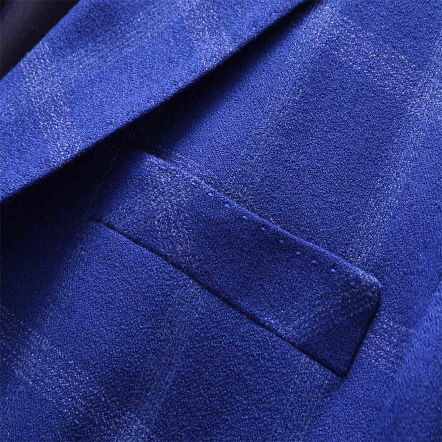 男性チェック柄二つボタンスーツ3ピース高品質ジャケットパンツベスト高級ビッグサイズスリムスーツs-5xlロイヤルブルー服男性t130