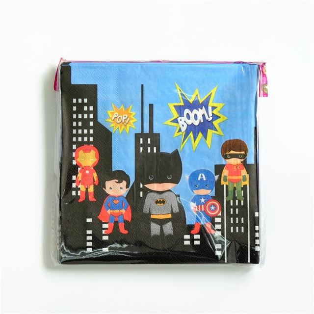 20pcslot Disposable Napkins Superman Iron man Batman Kids Birthday