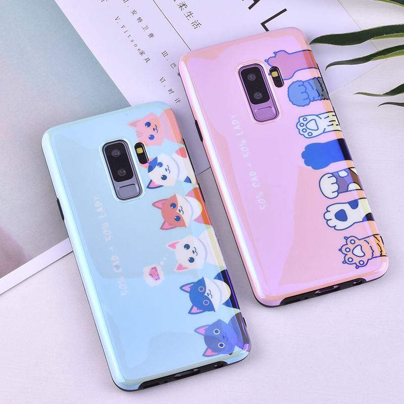 ProElite for Samsung S9 S8 Plus IMD Blue Light Mirror Case TPU Silicone Cute Cat Cover for Samsung S7 Edge Note 8 Fashion Shell