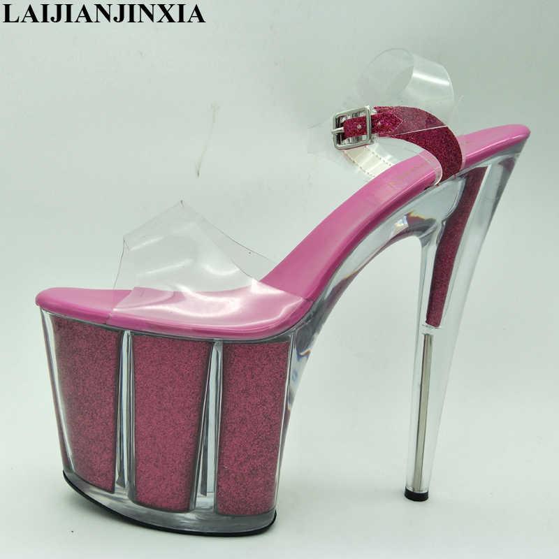 LAIJIANJINXIA Fashion Summer Women Ultra High Heel Sandals 20cm Sexy  Stripper Shoes Party Pumps Shoes Women d0baa6ae883a