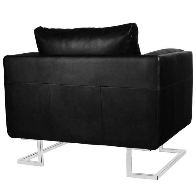 Vidaxl Black Luxury Cube Armchair With Chrome Feet In Living Room