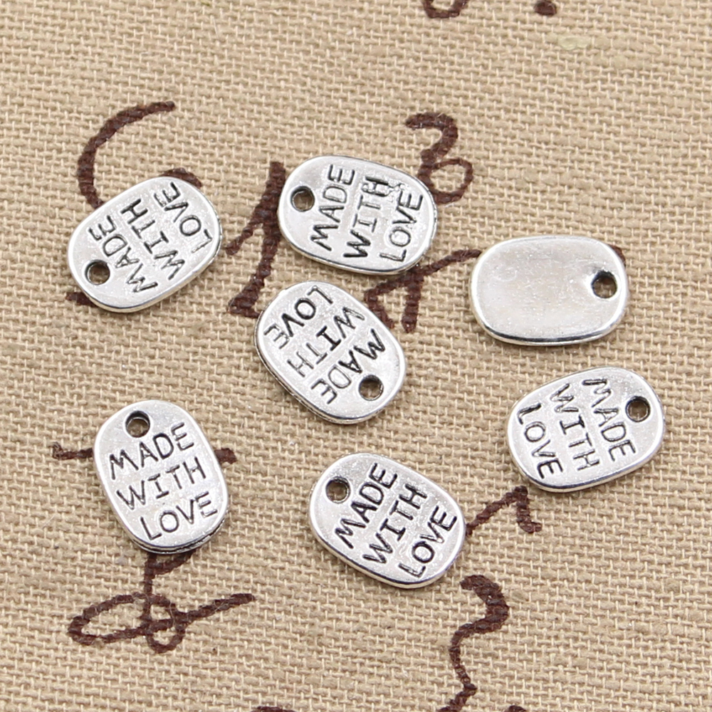 30pcs Charms Plates Made With Love 11x8mm Antique Making Pendant fit,Vintage Tibetan Bronze Silver color,DIY Handmade Jewelry(China)