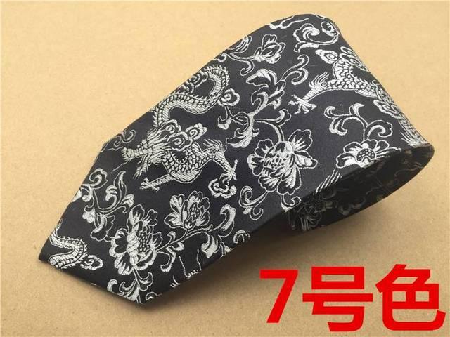 Dragón chino de lujo de seda bordado corbata para hombre, 100% negocios informal corbata de seda entretenimiento regalo de hombre, seda del partido cachemira