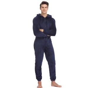 Image 1 - Мужская плюшевая флисовая Пижама теплая зимняя Пижама комбинезон костюмы Женская одежда для сна кигуруми пижамные комплекты с капюшоном для взрослых мужчин