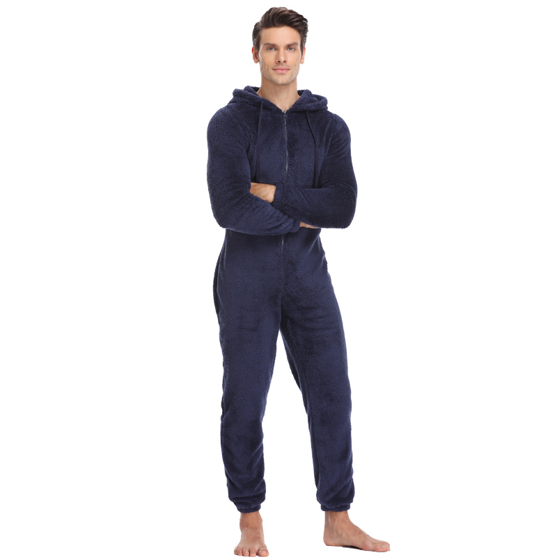 Men Plush Teddy Fleece Pajamas Winter Warm Pyjamas Overall Suits Solid Color Sleepwear Kigurumi Hooded Pajama Sets For Adult Men