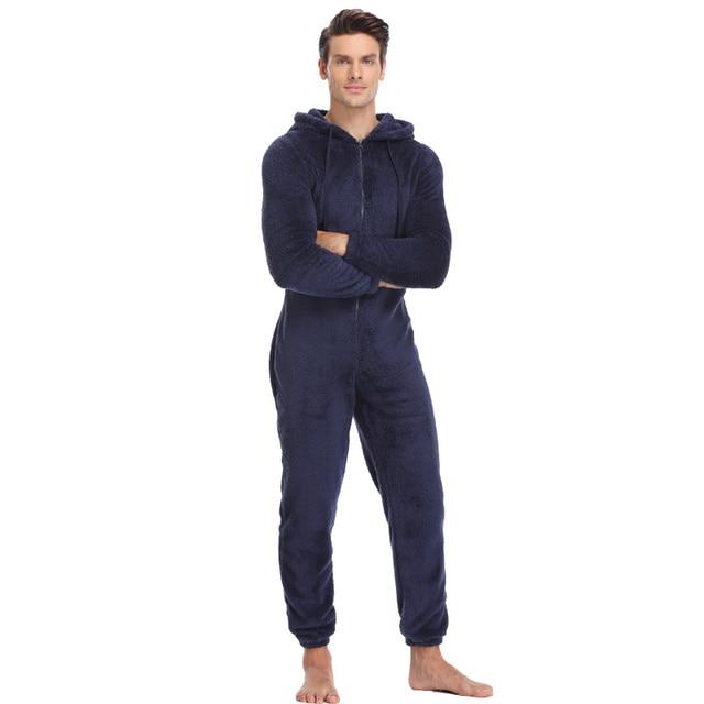 ผู้ชายPlushตุ๊กตาชุดนอนขนแกะฤดูหนาวWarmชุดนอนโดยรวมพลัสขนาดชุดนอนKigurumi Hoodedชุดสำหรับชาย