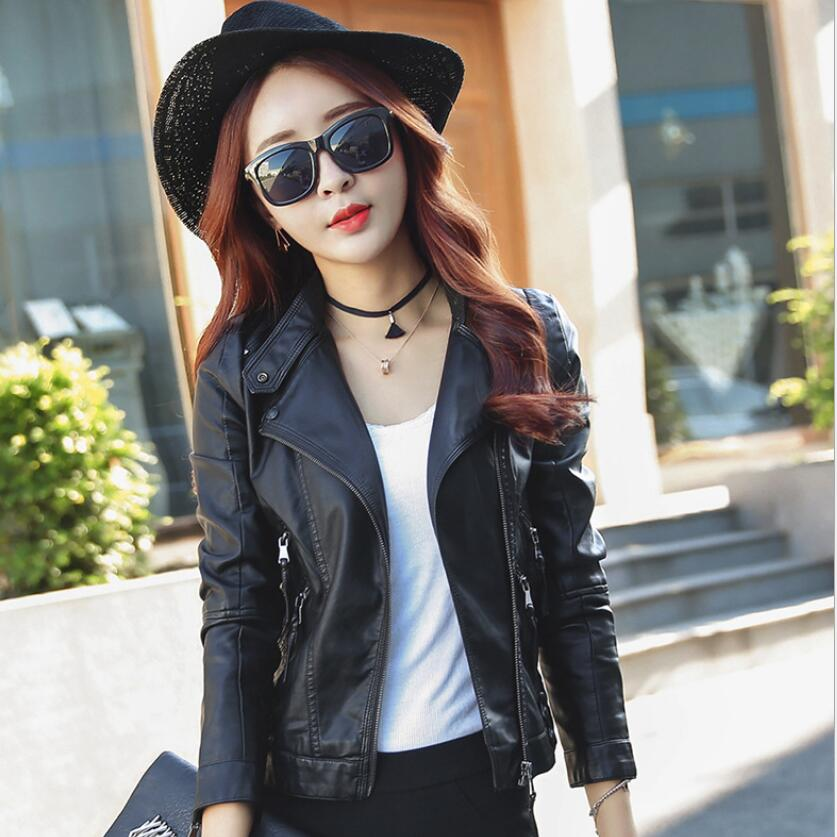 Leather   Jacket Women Fashion Bright Black Motorcycle   Leather   Coat Women Slim Faux   Leather   Biker Jacket Soft Jacket Female