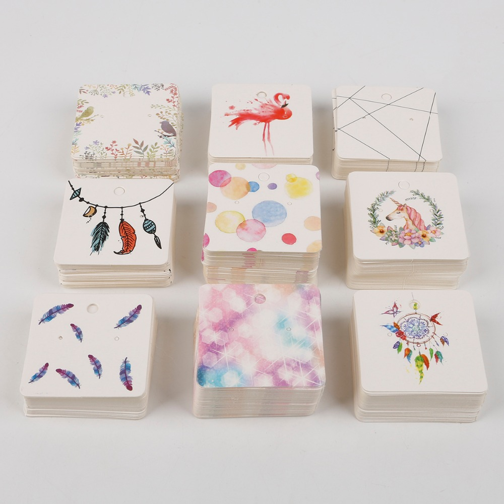 100Pieces/Lot 5X5CM Earrings Dispaly Fashion Jewelry Colorful Card Organizer Tags DIY Handmade Earring Stud Packing Card