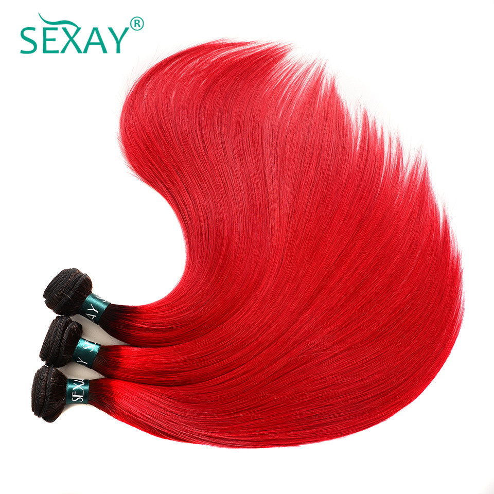 Sexay Pre-Colored Red Ombre Brazilian Human Hair Weave Bundles 3 PCS T1B/Red Dark Roots Straight Ombre Brazilian Hair Bundles