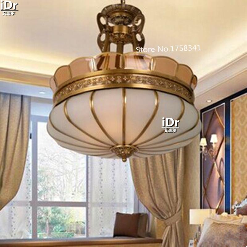 Modernen Europischen Milchglas Kupfer Foyer Schlafzimmer Lampe Halle Kronleuchter Bett Zimmer Versandkostenfrei 90v 260v