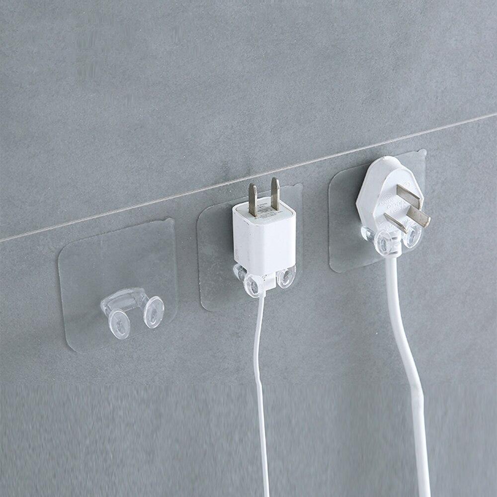 10pcs Wall Plug Socket Hook Holder Adhesive Storage Hanger Charging Rack Shelf