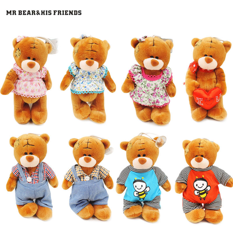 1pc 18cm Small Teddy Bears Stuffed Dolls Brown Tatty Teddy Bear Plush Toys Patch Bears Pendants Doll Kids Children Gifts Decor fancytrader new style giant plush stuffed kids toys lovely rubber duck 39 100cm yellow rubber duck free shipping ft90122