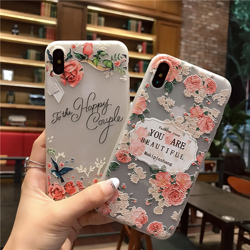 super popular e5e87 23c08 US $3.99 |for iPhone x Case Silicone Cute Cartoon Relief Flowers Matte TPU  Soft Back Cover Phone Case For Apple iPhone x iPhonex-in Fitted Cases from  ...