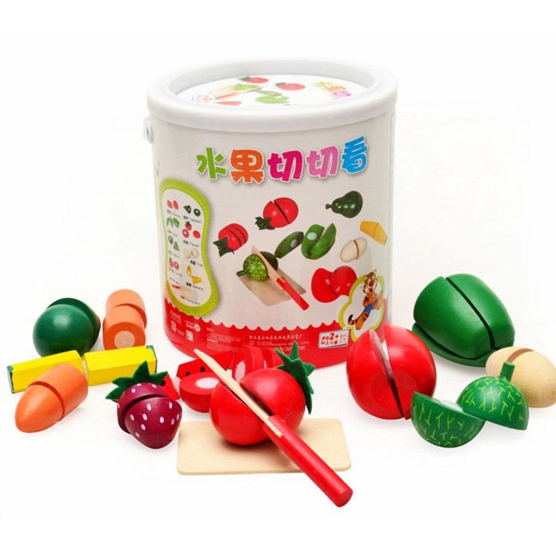 Surwish Sayuran Buah Kitchen Cutting Mainan Dengan Portabel Barel Kayu Puzzle Stiker Dan Sayur Cocina Juguete Brinquedo Kacang Kacangan Buahan Pemotong Plastik