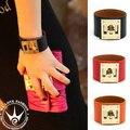 Fashion 10 colors Hip Hop H Charm Leather bracelet Bangle Wide CDC men and women punk rivet bracelet&Bangles jewelry