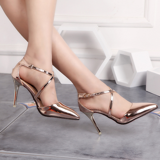 2017 female medium gold sexy high heels ladies shoes fashion pointed toe thin high women silver wedding shoes sandals
