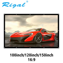 Rigal Portable 100 120 150 Inch Projection Screen 3D HD Wall Mounted Projector Screen Canvas 16:9 White Screen Home Theater Film