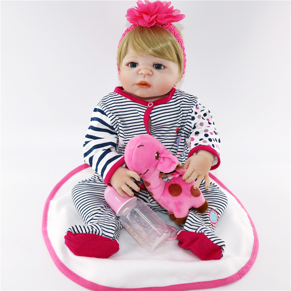 Volle Körper Silikon Vinyl Babys Reborn Puppen Realistische Lebendig 23 zoll Neue Geboren Baby tragen Streifen Strampler bebe Bonecas Rebron geschenk