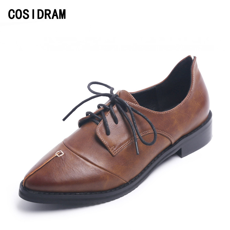 COSIDRAM Pointed Toe Women Oxfords Spring Autumn Fashion Women Flats PU Leather Lace-Up Women Shoes Ladies 2017 BSN-023 new spring autumn women shoes pointed toe high quality brand fashion ol dress womens flats ladies shoes black blue pink gray