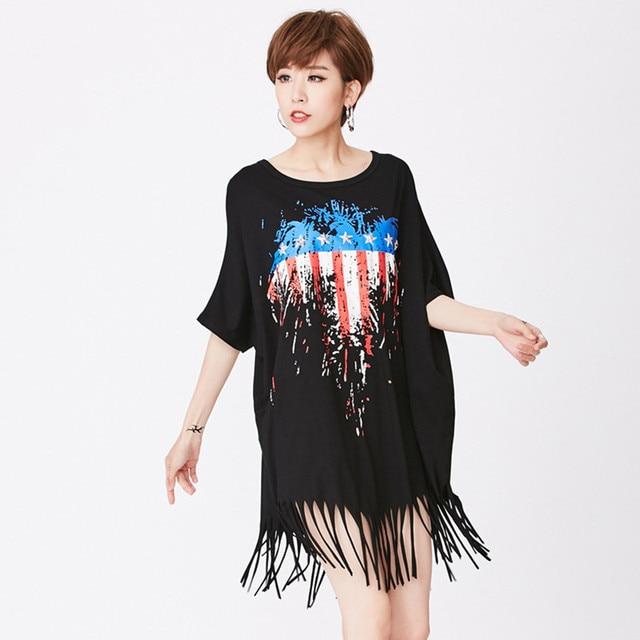 bcbf8a12bf4 Fashion Plus Size Tassels Dress Women Summer New Casual Short Sleeve Black  Dresses Loose Print Female Dress Women s Clothing
