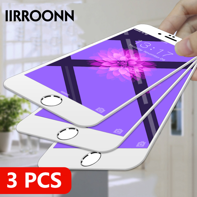 3Pcs/lot for iphone glass Protective glass iphone Full Cover Tempered Glass for iphone 6 7 8 Screen Protector For iphone 8 Plus