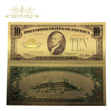 10pcs/lot 1928s America Gold Banknote 10 Dollar in 24k Plated Fake Money Metal Crafts For Gifts And Collection