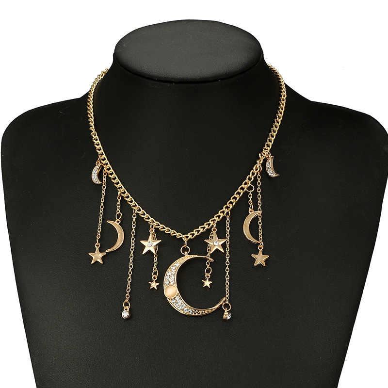 Turquie or chaîne strass lune étoile pendentif collier en métal court gitane collier parti indien déclaration bijoux bijoux femme