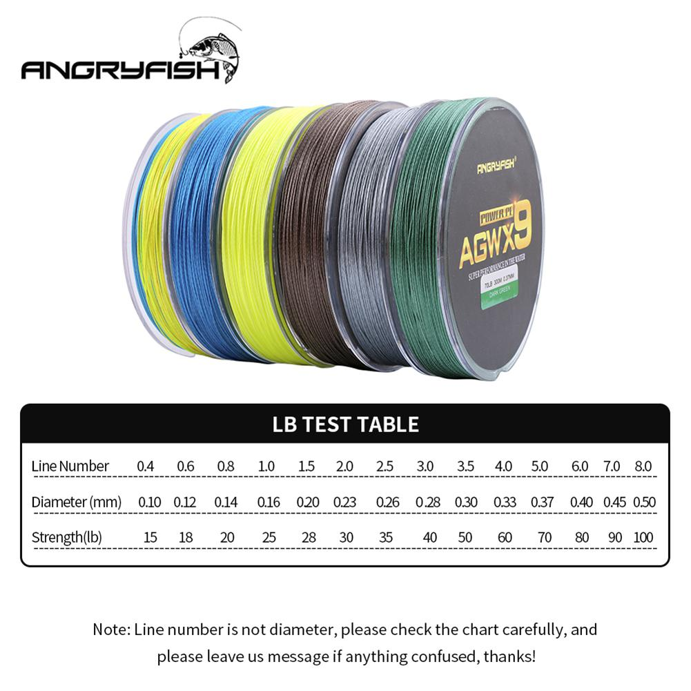 ANGRYFISH Fishing Line Diominate Multicolor X9 PE Line 9 Strands Weaves Braided 300m 327yds Super Strong Fishing Line 15LB 100LB in Fishing Lines from Sports Entertainment