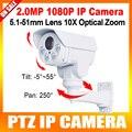 1080 P PTZ IP Camera10X Zoom Óptico 5.1-51mm Lente Pan/Tilt Rotação Leds matriz IR 80 M IP Câmera de 2MP Bala, Construído em Cartão SD Slot