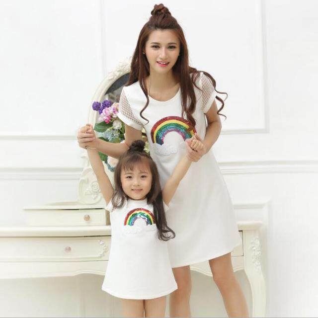 d0b5ca2e276 Sequin Rainbow Dress Family Set Mother Daughter Dresses Family Clothing Mom  and Daughter Dress Clothes Parent