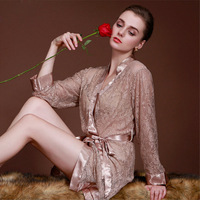 Women's transparent intimates Woman Lace Robe Female Lace Bathrobe Womens Robes Sleepwear Ladies Sexy Robe For Women AD438