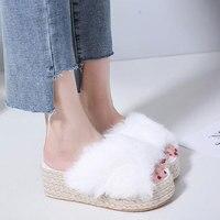 Tangnest NEW Women's Soft Fur Platform Sandals Autumn Comfortable Fleece Bottom Slippers Female Outside Hemp Shoes Black White