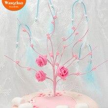 Розовый белый жемчуг дерево Топпер для торта «С Днем Рождения» Свадебные украшения торта вечерние принадлежности аксессуары романтическое украшение торта