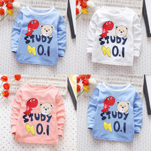 Toddler Kid Boys T Shirts Dinosaur Letter Print Long Sleeves T-shirt Tops 2018 New Autumn Baby Girl Cotton Clothing Shirt 18M-4T(China)