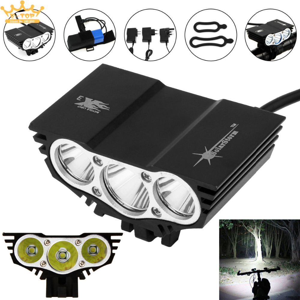 7500Lm Solarstorm U2 Bicycle Light XM-L LED 4-Mode Bike Front HeadLight with Charger + Rechargable Battery solarstorm 15000lm headlamp 4 mode bike light front bicycle headlights battery light bicycle 3x xm l u2 led