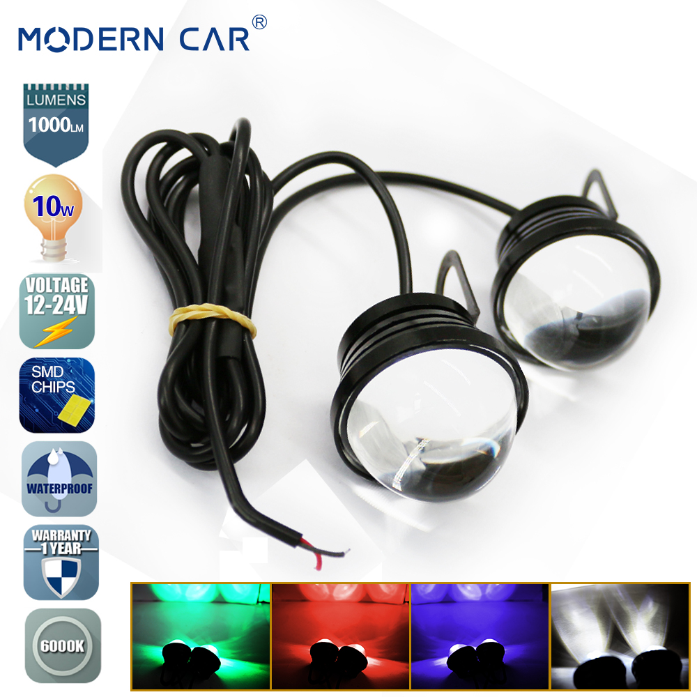 MODERN CAR Fish Eye DRL SMD Chip 10W 1000LM Grill Fog Lamp Eagle Eye Motorcycle Flash Warning Lights Strobe Light White Blub Red