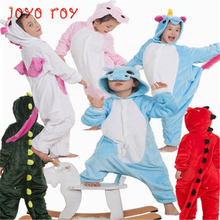 Flannel children's pajamas autumn and winter thick warm cute animal piece crawling clothes robe FF153