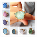 New Arrival Druzy Ring Drusy Rings Various Colors Natural Stone Crystal Rings
