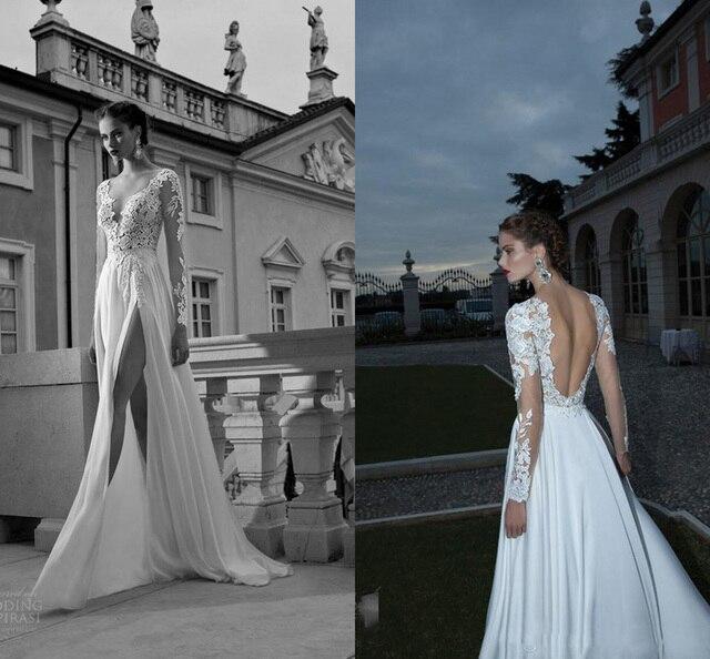 2016 New Split Wedding Dress Bridal Gowns Berta Bridal Illusion Long ...