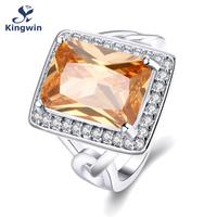 R223 Newest Design Champagne Color Big Stone Women Rings White Gold Plated Cz Diamond Jewelry Rings
