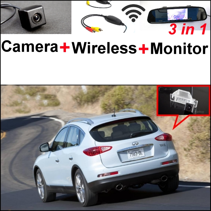 Wireless Receiver + Mirror Monitor Easy DIY Back Up Parking System For Infiniti QX50 EX QX 50 3 in1 Special Rear View Camera wireless pager system 433 92mhz wireless restaurant table buzzer with monitor and watch receiver 3 display 42 call button