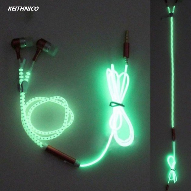 KEITHNICO 3.5mm Luminous Zipper Earphone Earbuds Hands-free Stereo Bass Metal Sport Headphone With Mic For Mobile Phone Mp3 Mp4